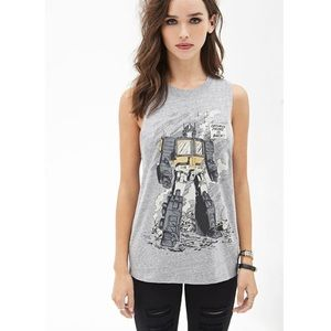 Forever 21 Grey Optimus Prime Tank for sale